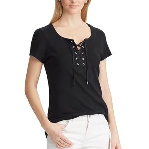 💗 Women's short sleeve lace up top